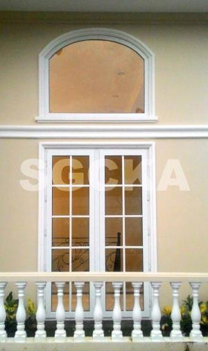 Jendela Mati Lengkung - Jendela Swing Double French Window uPVC
